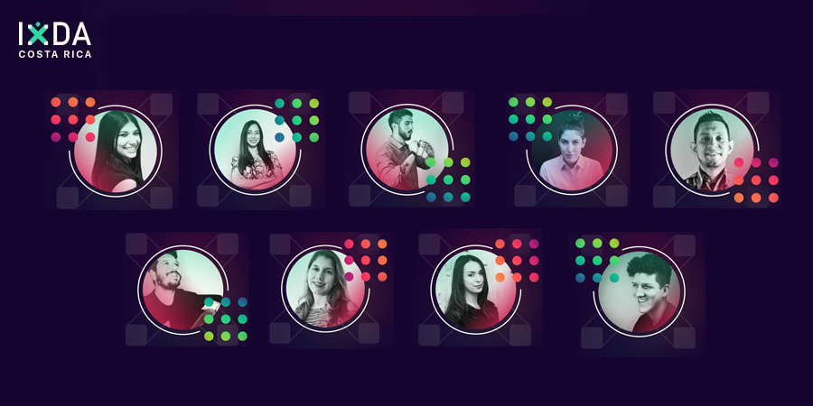 Image showing 9 headshots in circles with 3x3 dot design overlaid each photo